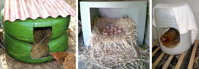 Tres tipos de ponederos para gallinas caseros